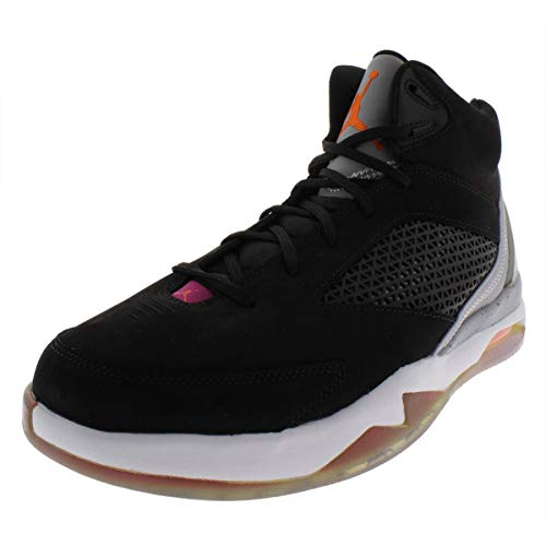 Nike Jordan Men's Air Jordan Flight Remix Basketball Shoes-Black/Gray/Pink-8 (Air Jordan Flight Pink)
