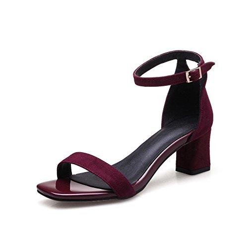 AdeeSu Womens Chunky Heels Metal Buckles Peep-Toe Urethane Heeled Sandals SLC03675 Claret PpclKP