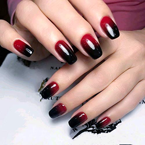 24 Pcs Black Full Cover Short False Gradient Jewelry Red Nails Gel Nail Art Tips Sets for Halloween -
