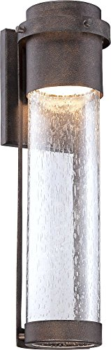 "Rames Seedy Glass 16 1/4""H Bronze LED Outdoor Wall Light"