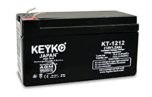 Battery 12V 1.2Ah Fresh & Real 1.3 Amp SLA Sealed Lead Acid AGM Rechargeable Replacement KEYKO Genuine - F1 Terminal