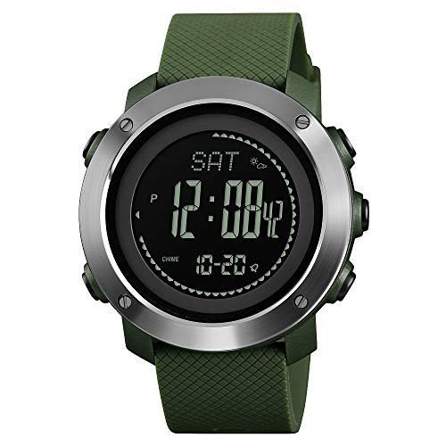 Compass Watch Army, Digital Outdoor Sports Watch for Men Women, Pedometer Altimeter Calories Barometer Temperature Waterproof (Sliver)