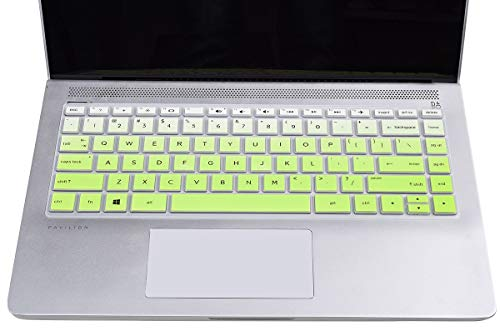 """CaseBuy Keyboard Cover Compatible 2020 2019 2018 HP 14"""" Laptop/HP Pavilion x360 14M-BA 14M-CD 14M-DH 14-BA 14-BF 14-cm 14-CF 14-DF 14-DK 14-DS 14-DQ Series HP 14 Inch Laptop Skin, Ombre Green"""