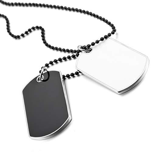 MOWOM White Black 2PCS Alloy Enamel Pendant Necklace Army Name Double Dog Tag 27 Inch Chain