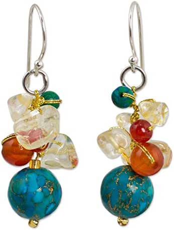 NOVICA Multi-Gemstone Earrings with Blue Calcite and .925 Sterling Silver Hooks, 'Blue World'
