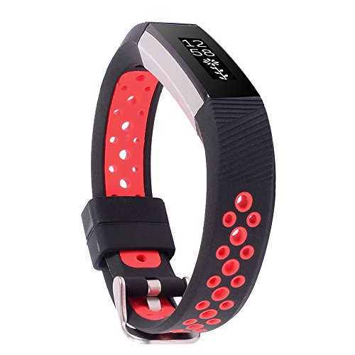 WISHTA Band for Fitbit Alta/ Fitbit Alta HR, 3PCS Newest Colorful Replacement Wristband With Secure Clasps for Fitbit Alta/Alta HR Only(No tracker, Replacement Band Only) (Black/Red, S)