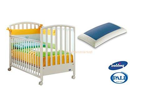 Kinderbett Pali Ciak weiß + Kissen Bedding Blue Classic aus Memory Foam