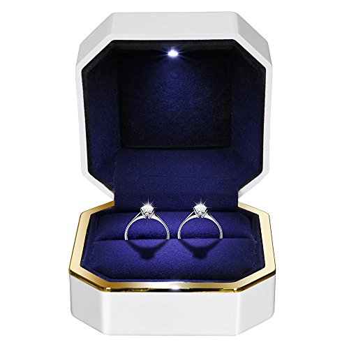 Sparkle Ring Box - ZeHuoGe Square Ring Box with LED Light for Double Ring Piano Painting Velvet Inside Proposal Wedding US Delivery (for Double Ring)