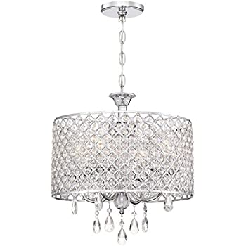 Revel briolette 16 large 4 light contemporary drum crystal chandelier chrome finish