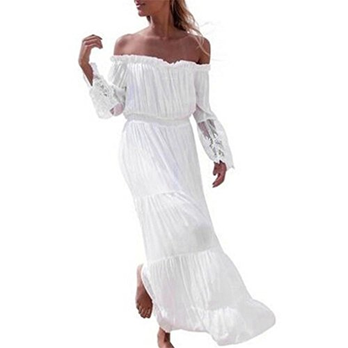 Women Dress,Haoricu Women Sexy Summer Off Shoulder Lace Chiffon Long Beach Dresses (Asian Size:L, White)