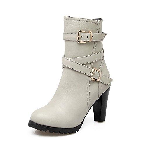 AdeeSu Ladies Chunky Heels Platform Buckle Imitated Leather Boots Gray