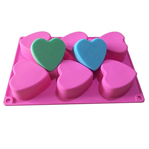 Allforhome(TM) 6 Hearts Silicone Soap Molds Cupcake Baking Mold Muffin Cups Polymer Clay Handmade Biscuit Chocolate Ice Cube Tray DIY Mold