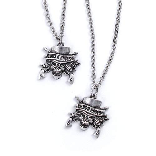(Guns N' Roses Skull Necklace & Bracelet Set)