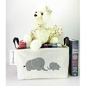 HOUSESTORAGE Laundry Hamper Storage Bin Baskets Foldable Nursery Laundry Basket for Organizing Kids Toy Office Bedroom Toy Bin Closet Shelf Baskets Baby Hamper(Rec-Parent-Child Elephant)