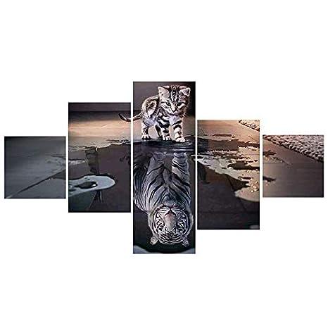 SODIAL Estilo de Moda Pintura de Diamante 5 Paneles Gato Y ...