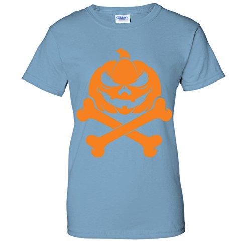Jack O Lantern Pumpkin Skull & Crossbones Happy Halloween WOMENS T-Shirt (XL LTBLUE) -