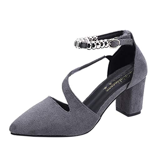 Caopixx Women's High Chunky Heel Buckle Ankle Strap Sandals Pointed Toe Casual Single Shoes Gray