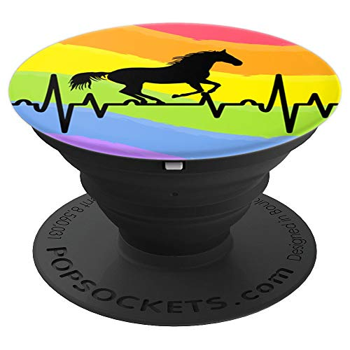 Barrel Race - Barrel Horse Jumping Heartbeat Equestrian Rainbow Gay Pride - PopSockets Grip and Stand for Phones and Tablets