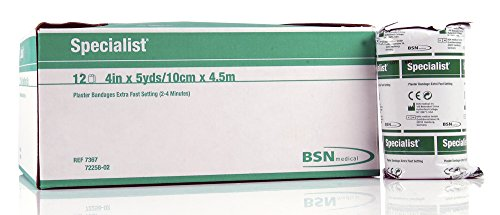 (BSN 7367 4 in. x 5 yard Extra-Fast-Setting Green Label Specialist Plaster Bandages, 12 per Box)