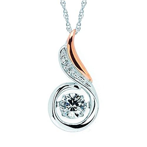 14K White & Rose Gold Dancing Diamond Swirl Pendant Necklace, 18