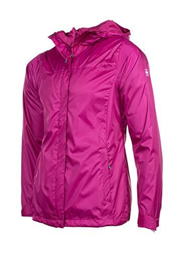 Swiss Alps Womens Wind Resistant Lightweight Rain Jacket, Raspberry, M