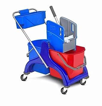Clim Profesional® - Carro de fregado con doble cubo de 25L, prensa para fregonas industriales y cesta para transportar más útiles de limpieza: Amazon.es: ...