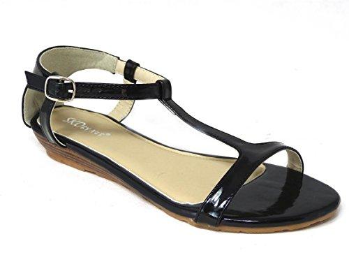 Sandales 13007 chaussures Toe Vacances coulisses d'été plates Femme Peep Mules Plage Chunky Black 7Iqwxz