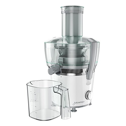 Powerful 800 Watt Motor (Juiceman JM850 Power Plus 2 Speed Compact Juicer & Citrus Juicer with 28oz. Removable Pulp Container & 32oz. Juice Pitcher)