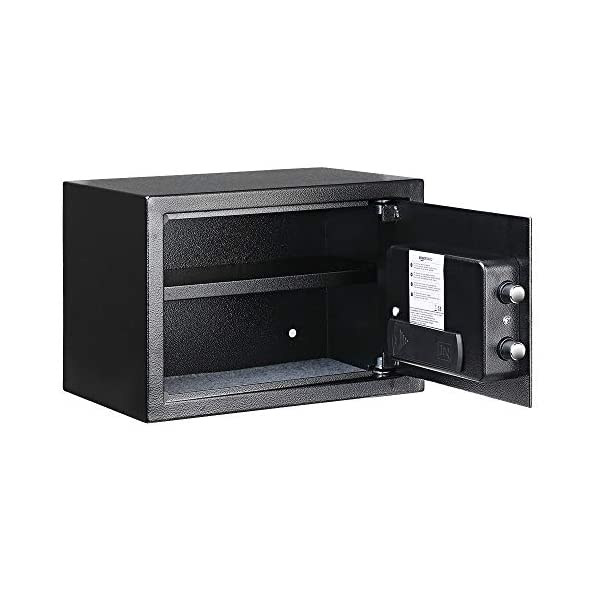 Amazon Basics Steel Security Safe with Programmable Electronic Keypad - Secure Cash, Jewelry, ID Documents - Black, 0.5… 3