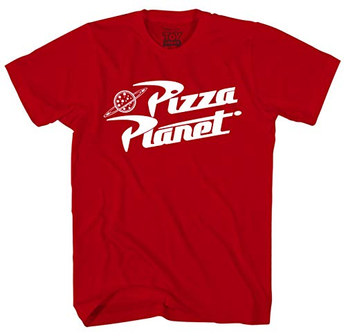 Disney Toy Story Pizza Planet Logo Men's Adult Graphic Tee T-Shirt (Red, Medium) ()