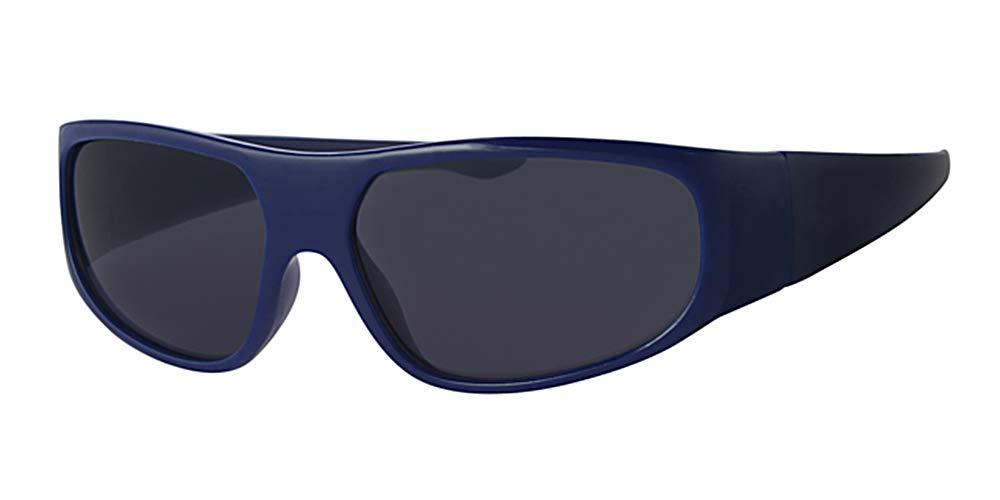 Eyewear World Kids/Childrens Wrap Around Blue Frame Sunglasses, With Free Yellow Neckcord