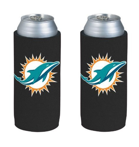 NFL 2013 Football Ultra Slim Beer Can Holder Koozie 2-Pack - Pick your team (Miami Dolphins)