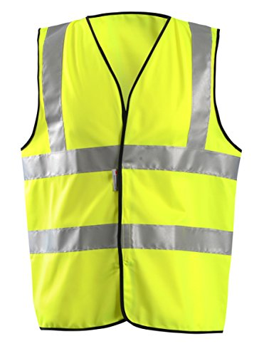 OccuNomix LUX-SSFULLG-Y3X High Visibility Premium Solid Dual Stripe Full Classic Safety Vest, Class 2, 100% ANSI Polyester Tricot with 2