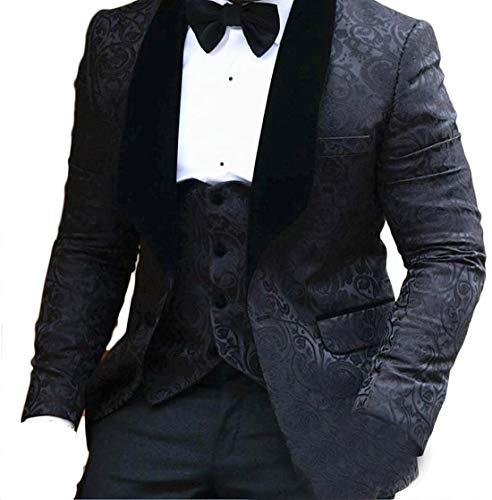 auguswu One Button Jacquard Weave Mens Slim Fit Tuxedos Suits 2 Piece Sets Black 44R