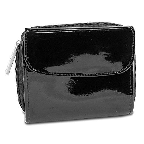 Travelon Luggage Rfid Blocking Leather Tri Fold French Wallet, Black Patent, One ()