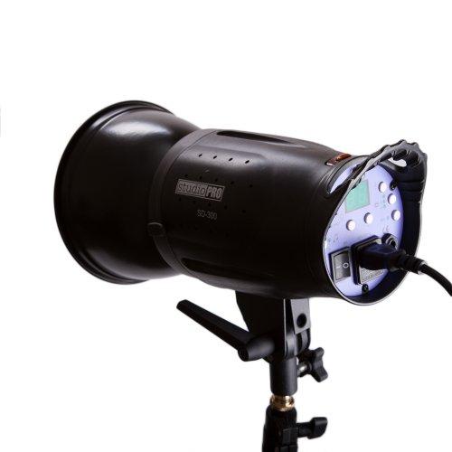 0 Watt SD-300 Monolight Flash Strobe Light with S-type Bowens Style Mount and 7'' Standard S-type Bowens Reflector, modeling lamp, for Portrait Location Photography Studio lighting (International 100 Watt 3 Light)
