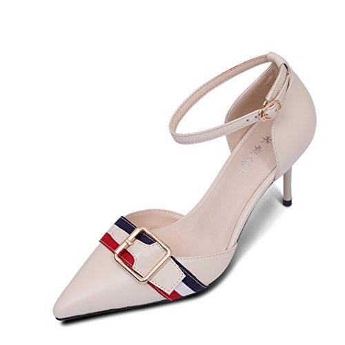 Tacón Alto/Los Zapatos De Las Mujeres/Bien Con La Boca Poco Profunda Cien Zapatos/De Una Palabra Hebilla De Zapatos Puntiagudos A