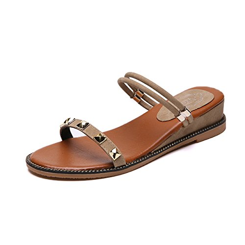 Btrada Slides Sandalen Voor Dames-zomer Open Teen Slip Op Platte Schoenen A-abrikoos