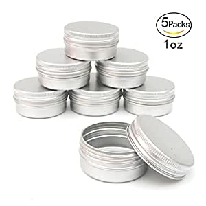Healthcom 1oz Metal Tin Steel Flat Silver Metal Tins Jars Empty Slip Slide Round Tin Containers With Tight Sealed Twist Screwtop Cover£¬5 Pcs
