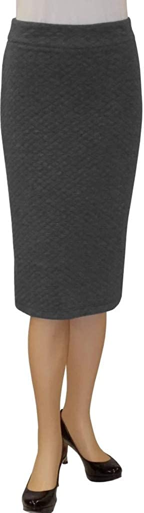 BabyO Womens Basic Stretch Bodycon Midi Modest Pencil Skirt Below The Knee for Office Work Made in USA