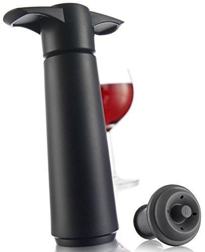 The Original Vacu Vin Wine Saver with 1 Vacuum Stopper - Black