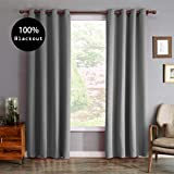 Robinn Home Blackout Curtains 2 Panels 100% Room Darkening Thermal Insulated Grommet Window Curtains for Bedroom/Living Room (Light Grey, 52Wx95L) For Sale