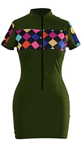Sleeve Jaycargogo Green Dresses Casual Women Short Bodycon Army Dress Night Club Fashion qtZtr7