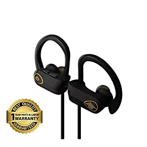 Bluetooth Wireless Headphones w/ Mic, Best Earbuds, Noise Cancelling - IPX7 Water & Sweatproof Earbuds - HD Voice Call & Stereo Earphones by Electrics Solution (Black)