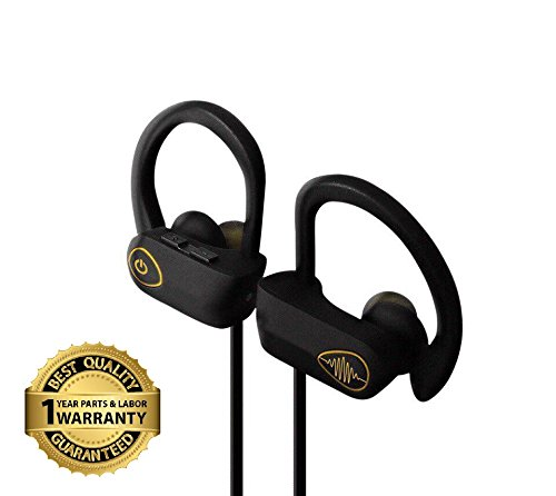 Bluetooth Wireless Headphones w/ Mic, Best Earbuds, Noise Cancelling – IPX7 Water & Sweatproof Earbuds – HD Voice Call & Stereo Earphones by Electrics Solution (Black)