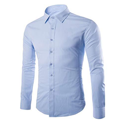 2019 Long Sleeve Slim Fit Male Lapel Shirt Casual Business Dress Tops M-5Xl,Light Blue,XXL 68 to 73Kg