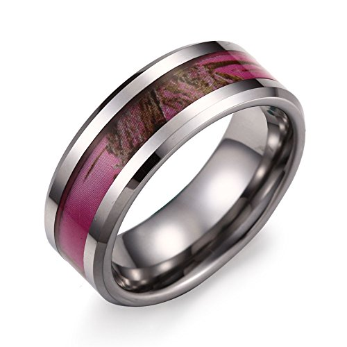 Caperci 8mm Hunting Camouflage Tungsten Wedding Band Pink Camo Ring for Men Size 10 (Camo Ring Pink Hunting)