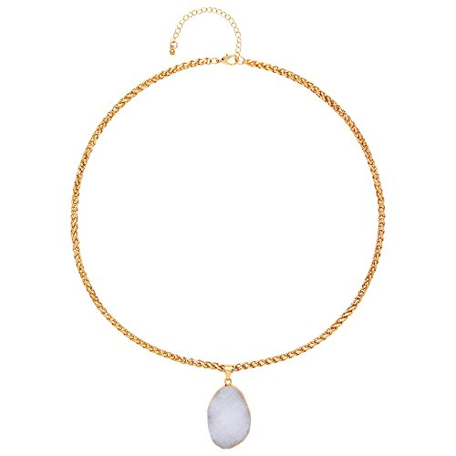 Front Row White Natural Stone Necklace of Length 71 cm