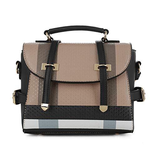 SG SUGU Small Plaid Lightweight Crossbody Bag Fashion Backpack Top Handle Purse | Brown/Black