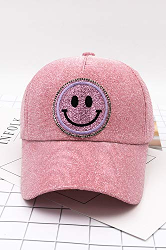 (Unique Baseball hat Cap Women Girls Embroidery Sparkling Smile Cute College Casual Fashion Curved Eaves Dome Spring Sun Visor Cap Tide (Pink)